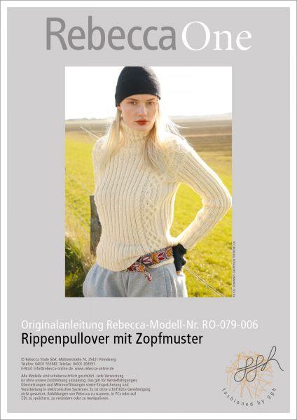 Anleitung - Rippenpullover mit Zöpfen